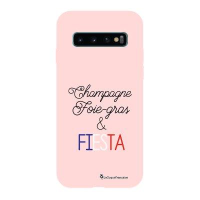 Coque Samsung Galaxy S10 Silicone Liquide Douce rose pâle Champ et Fiesta Blanc La Coque Francaise.