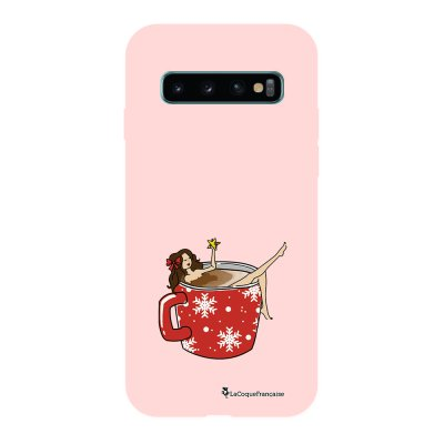 Coque Samsung Galaxy S10 Silicone Liquide Douce rose pâle Chocolat Chaud La Coque Francaise.