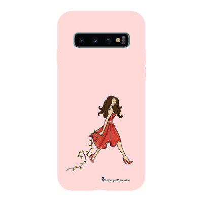 Coque Samsung Galaxy S10 Silicone Liquide Douce rose pâle Réveillon de Noel La Coque Francaise.