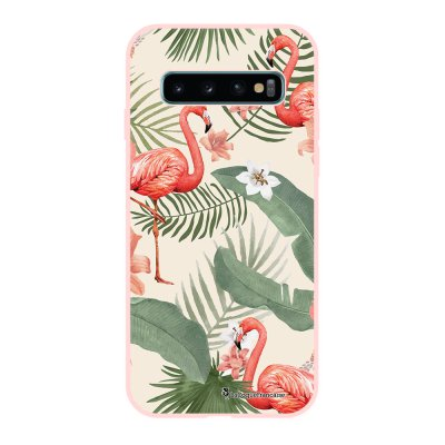 Coque Samsung Galaxy S10 Silicone Liquide Douce rose pâle Flamants Rose La Coque Francaise.
