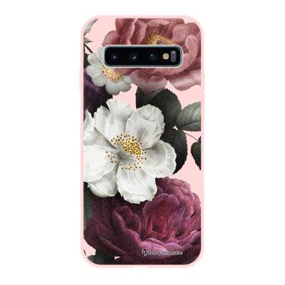 Coque Samsung Galaxy S10 Silicone Liquide Douce rose pâle Fleurs roses La Coque Francaise.