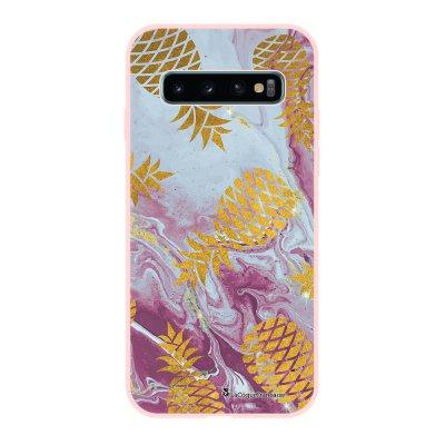 Coque Samsung Galaxy S10 Silicone Liquide Douce rose pâle Marbre Ananas Or La Coque Francaise.