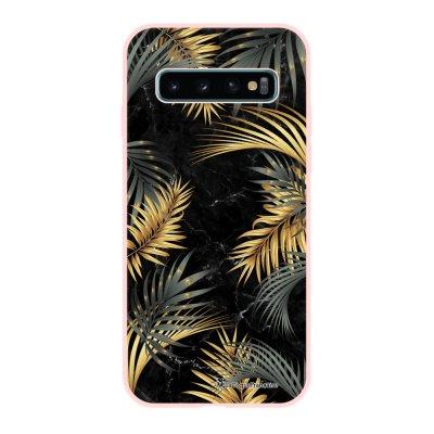 Coque Samsung Galaxy S10 Silicone Liquide Douce rose pâle Feuilles de Palmier Noir La Coque Francaise.