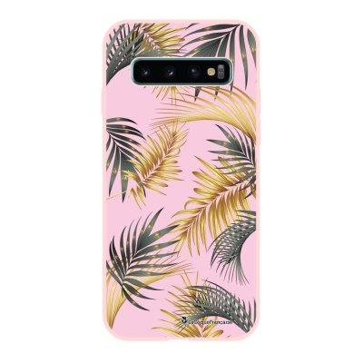 Coque Samsung Galaxy S10 Silicone Liquide Douce rose pâle Feuilles de palmier rose La Coque Francaise.