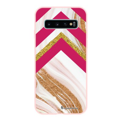 Coque Samsung Galaxy S10 Silicone Liquide Douce rose pâle Trio marbre fuschia La Coque Francaise.