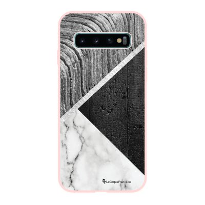 Coque Samsung Galaxy S10 Silicone Liquide Douce rose pâle Trio béton brut La Coque Francaise.