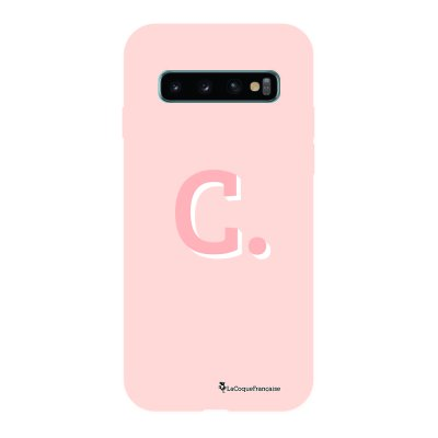 Coque Samsung Galaxy S10 Silicone Liquide Douce rose pâle Initiale C La Coque Francaise.