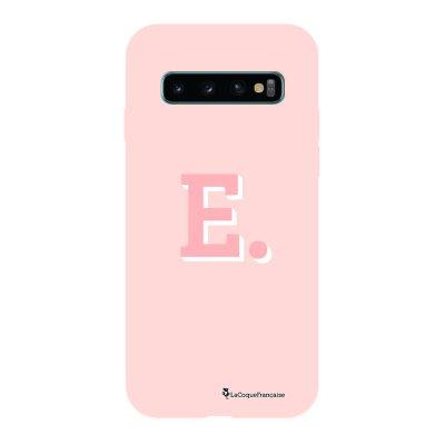 Coque Samsung Galaxy S10 Silicone Liquide Douce rose pâle Initiale E La Coque Francaise.
