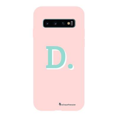 Coque Samsung Galaxy S10 Silicone Liquide Douce rose pâle Initiale D La Coque Francaise.