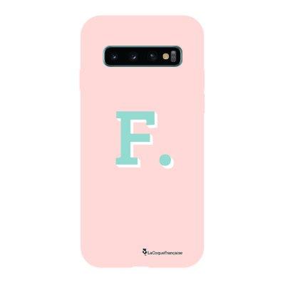 Coque Samsung Galaxy S10 Silicone Liquide Douce rose pâle Initiale F La Coque Francaise.