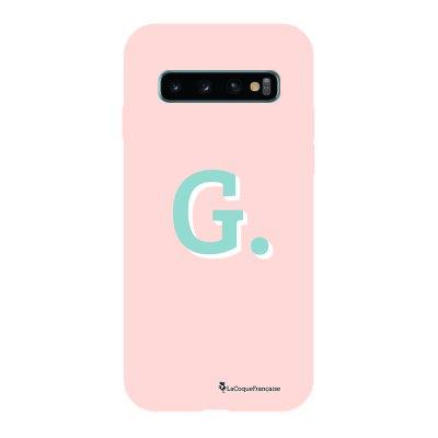 Coque Samsung Galaxy S10 Silicone Liquide Douce rose pâle Initiale G La Coque Francaise.