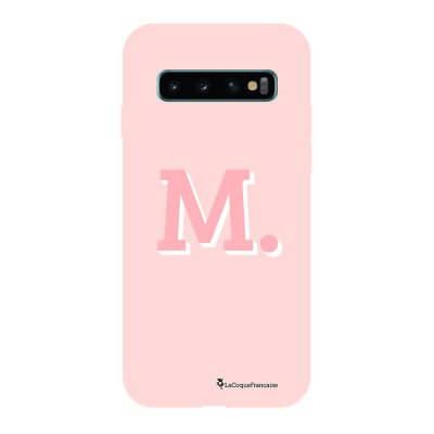 Coque Samsung Galaxy S10 Silicone Liquide Douce rose pâle Initiale M La Coque Francaise.