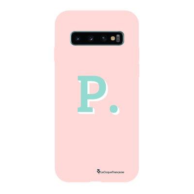 Coque Samsung Galaxy S10 Silicone Liquide Douce rose pâle Initiale P La Coque Francaise.