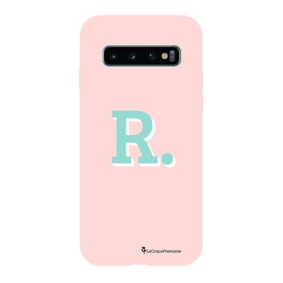 Coque Samsung Galaxy S10 Silicone Liquide Douce rose pâle Initiale R La Coque Francaise.