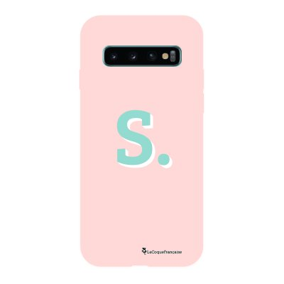 Coque Samsung Galaxy S10 Silicone Liquide Douce rose pâle Initiale S La Coque Francaise.