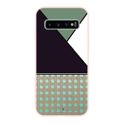 Coque Samsung Galaxy S10 Silicone Liquide Douce rose pâle Canage vert La Coque Francaise.