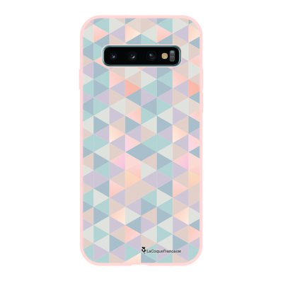 Coque Samsung Galaxy S10 Silicone Liquide Douce rose pâle Triangles multicolors La Coque Francaise.