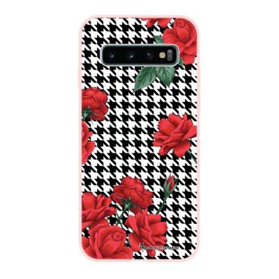 Coque Samsung Galaxy S10 Silicone Liquide Douce rose pâle Pied de poule La Coque Francaise.