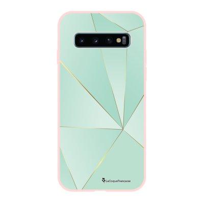 Coque Samsung Galaxy S10 Silicone Liquide Douce rose pâle Vert géométrique La Coque Francaise.