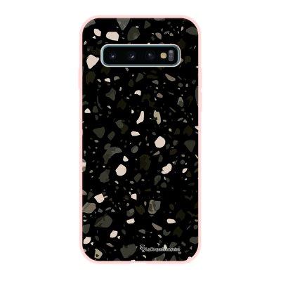 Coque Samsung Galaxy S10 Silicone Liquide Douce rose pâle Terrazzo Noir La Coque Francaise.