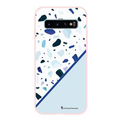 Coque Samsung Galaxy S10 Silicone Liquide Douce rose pâle Duo Terrazzo Bleu La Coque Francaise.