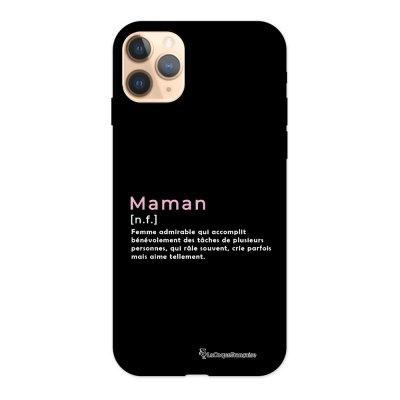 Coque iPhone 11 Pro Silicone Liquide Douce noir Maman Definition La Coque Francaise.