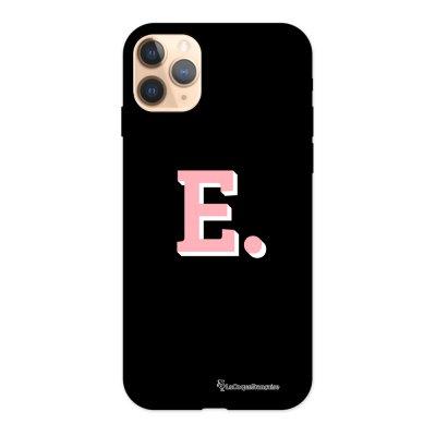 Coque iPhone 11 Pro Silicone Liquide Douce noir Initiale E La Coque Francaise.