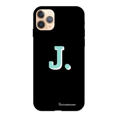 Coque iPhone 11 Pro Silicone Liquide Douce noir Initiale J La Coque Francaise.