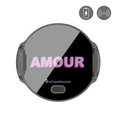 Support voiture charge induction-ouverture auto Amour parme et fushia La Coque Francaise