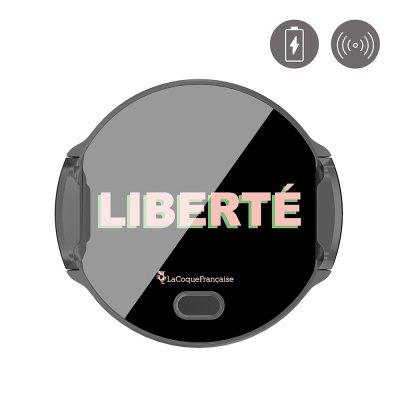 Support voiture charge induction-ouverture auto Liberté rose et vert La Coque Francaise