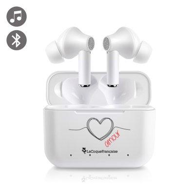 Ecouteurs intra-auriculaires Bluetooth Blanc Coeur Noir Amour La Coque Francaise
