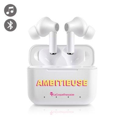 Ecouteurs intra-auriculaires Bluetooth Blanc Ambitieuse jaune et fushia La Coque Francaise