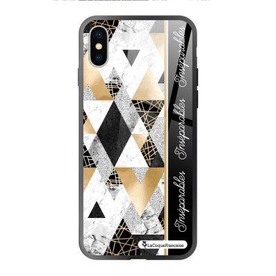 Coque iPhone X/XS soft touch noir effet glossy Marbre Noir Inséparables Design La Coque Francaise