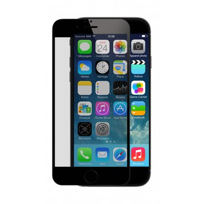 Vitre protectrice avant en verre trempé Noire pour iPhone 7