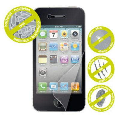 Lot de 2 films un anti bacterien mat anti traces de doigt et un brillant iphone 4 et 4S