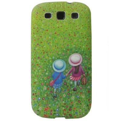 Coque silicone Samsung Galaxy SIII enfants jardin de fleurs