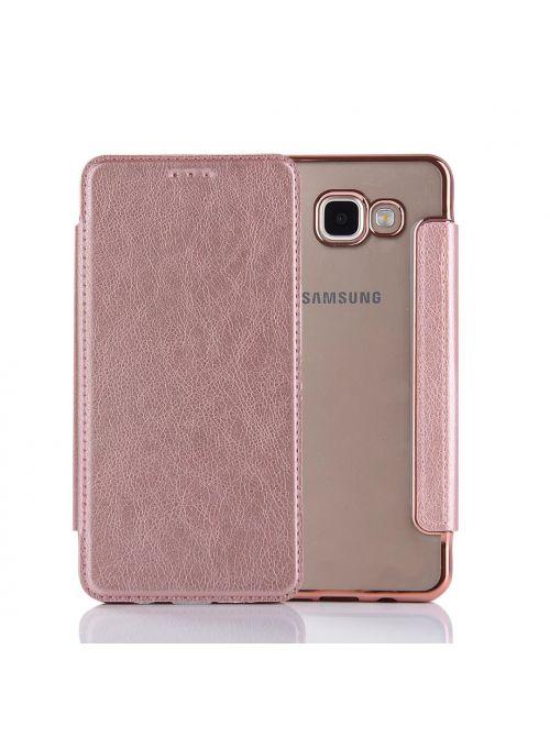 Etui à clapet en simili-cuir avec coque arrière/ bumper Rose Gold pour Samsung Galaxy A5 2016