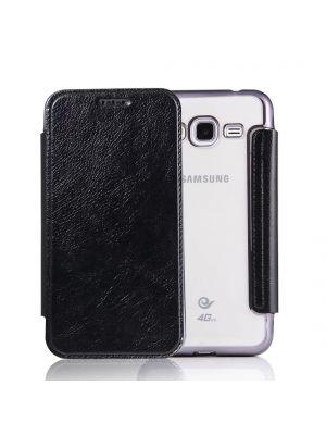 Etui à clapet en simili-cuir avec coque arrière/ bumper Black pour Samsung Galaxy J3 2016